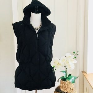 WOOLRICH Black Quilted Down Hooded Puffer Vest